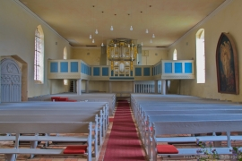 Kirche Blankenhagen - Kirchenschiff mit Orgel