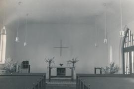 Kirche Gelbensande - Innenraum mit Altar im Jahr 1968 nach Umbau